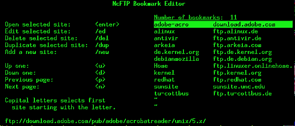 Screenshot NcFTP 45,4 Kb
